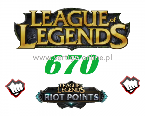 League of Legends 670 RP Riot Points EU-NE